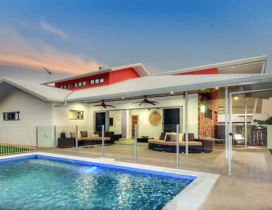 Summer Breeze by Northern Star Homes - 2014 HIA Northern Territory Display Home of the Year - rear of house and pool