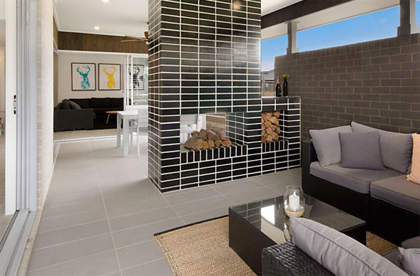 Brick used in display home as an inside focal point for Modern view homes